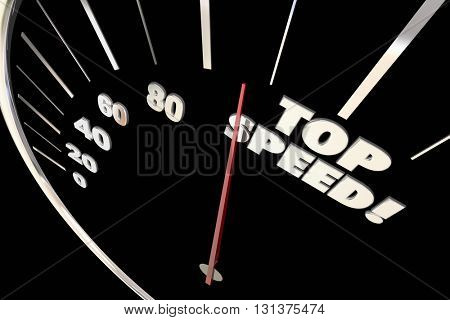 Top Speed Fast Response Service Speedometer Words 3d Illustration