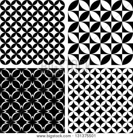 Seamless patterns. Geometric textures set. Vector art.