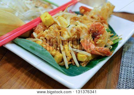 Shrimps Pad Thai in dish , Thailand Food