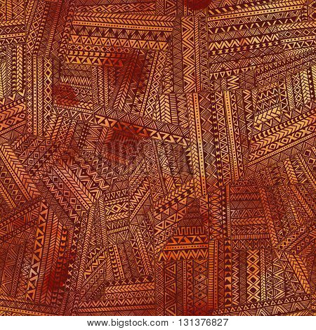Brown Seamless Patchwork. Ethnic And Tribal Motifs. Watercolor Texture. Paint Spots. Handmade. Geome