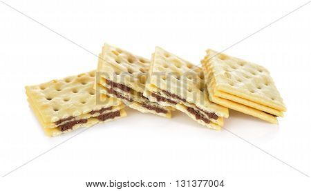 sanwich cracker chocolate flavored cream on white background