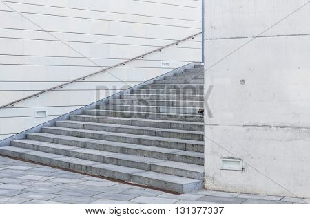 modern architecture concept - close up of urban city stairs with railing