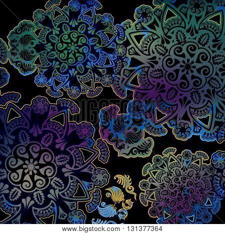 motley floral design on dark background colored