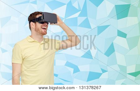 3d technology, virtual reality, entertainment and people concept - happy young man with virtual reality headset or 3d glasses playing game over low poly background