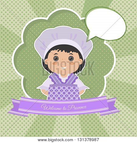 Invitation Welcome to Provence. Cartoon girl in national dress Provence. There a place in your text.