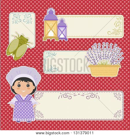 Set of banner in the style of Provence. Cartoon girl in national dress of Provence lavender olives. There a place in the text.