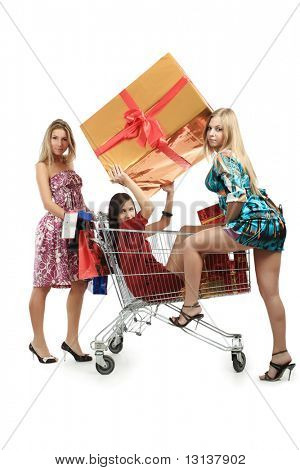 Xmas  background: girlfriends with presents