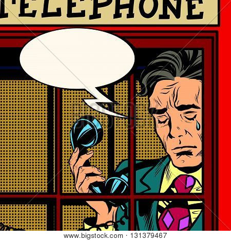 Retro man crying in the red phone booth pop art retro vector. Close-up face. Emotions tears