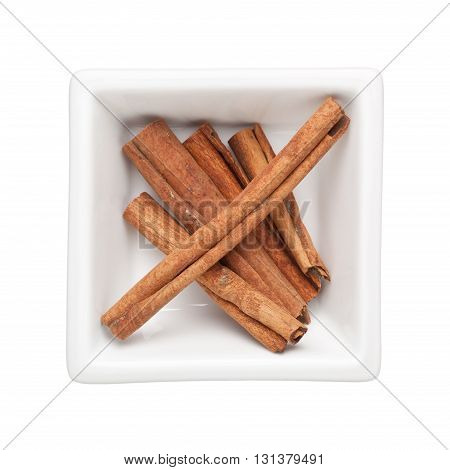 Cinnamon bark in a square bowl isolated on white background