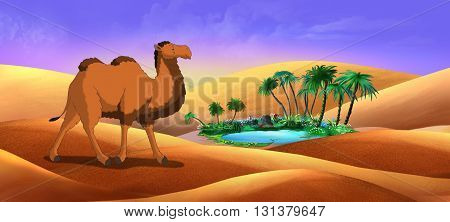 Bactrian Camel in Desert Oasis. Digital painting full color illustration.