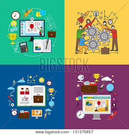 Web education or online education, online learning and team learning concepts. Vector illustration