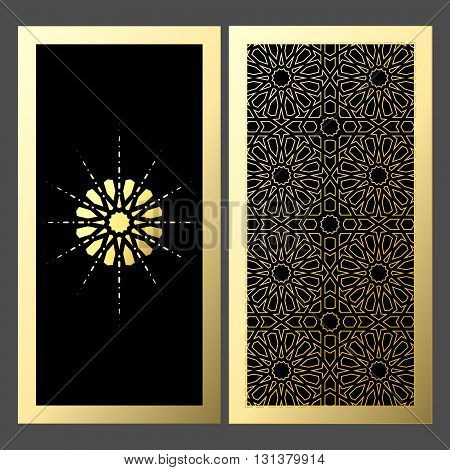 Elegant luxury invitation template design card with golden ornament.