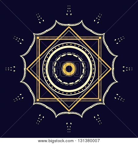 illustration of geometrical symbol on dark blue background. Vector graphic design element. Ethnic abstract symbol