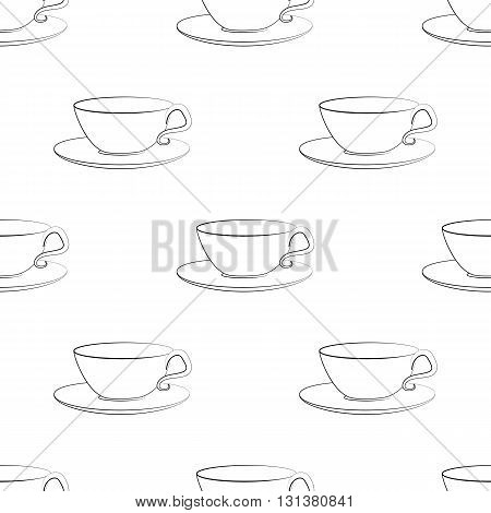 Seamless vector pattern with tea and coffee cups. Hand drawn sketch of cups and saucers.