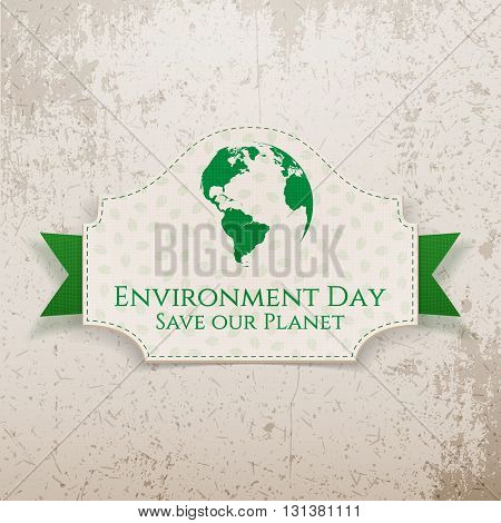 World Environment Day Earth Badge and Ribbon. Ecology Background Template. Vector Illustration
