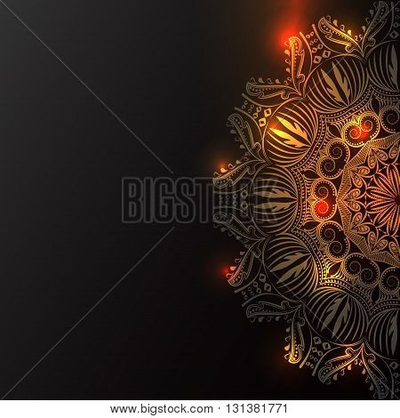 Ornamented artistic background sparks of light. Ornamental stylized mandala pattern, black background. Festive decoration, invitation, greeting card, banner, flyer design. Ramadan Kareem background.