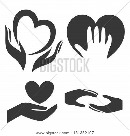 Heart in hand symbol, sign, icon, logo template for charity, health, voluntary, non profit organization, isolated on white background, vector illustration. Set of vector icons isolated on white background.