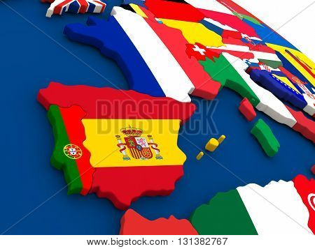 Spain And Portugal On Globe With Flags
