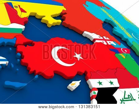 Turkey On Globe With Flags