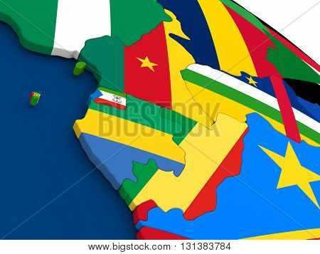 Cameroon, Gabon And Congo On Globe With Flags