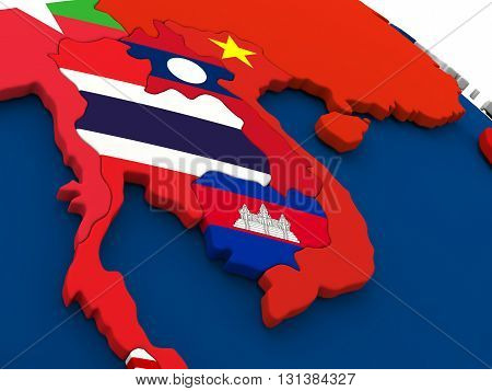 Laos And Cambodia On Globe With Flags