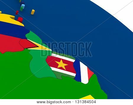 Guyana, Suriname And French Guiana On Globe With Flags