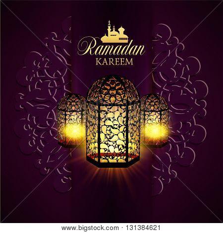 Ramadan Kareem greeting ornate background. Vector Illustration. Eid mubarak. Islamic art design template.