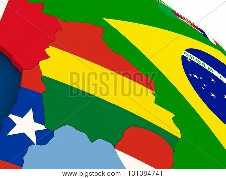 Bolivia On Globe With Flags