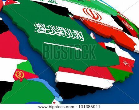 Arab Peninsula On Globe With Flags