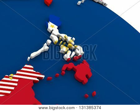 Philippines On Globe With Flags
