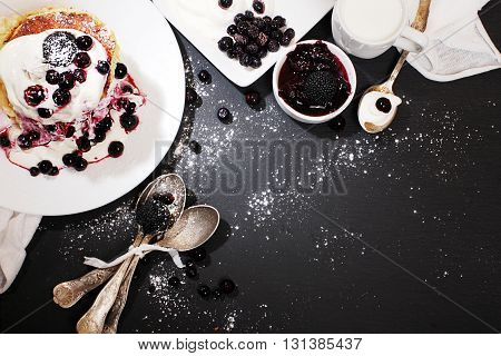 Pancakes with blueberries. Russian Shrovetide. Top view
