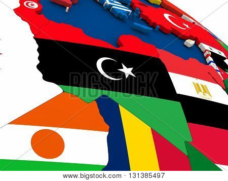 Libya On Globe With Flags