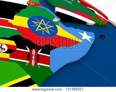 Somalia And Ethiopia On Globe With Flags