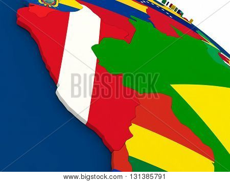 Peru On Globe With Flags
