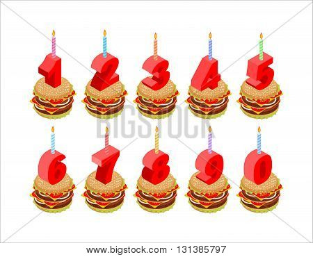 Burger And Birthday Candles Numbers Set. Holiday Burger Isometrics. Fast Food For Holiday. Numbers C