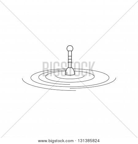 Fishing float on water. Fishing float in the style of the line. The logo or emblem of your store or company. Vector illustration.