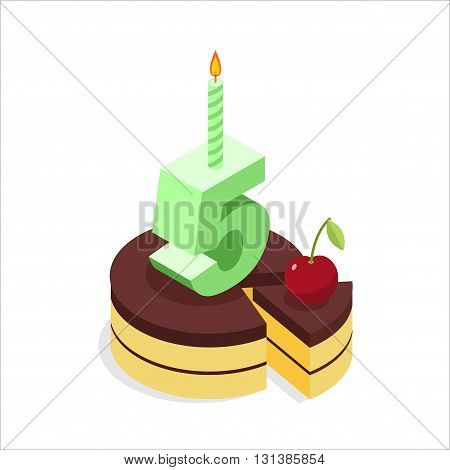 Birthday 5 Years. Cake And Candle Isometrics. Number Five With Candle. Celebration Of Anniversary Pi