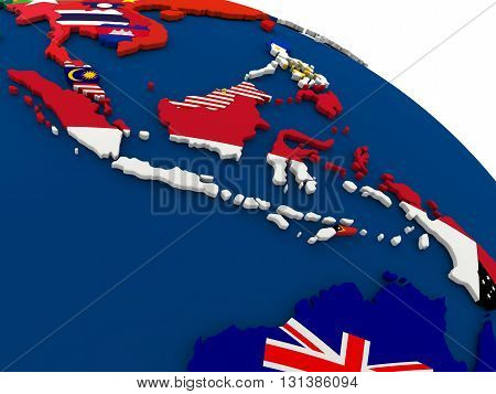 Indonesia On Globe With Flags