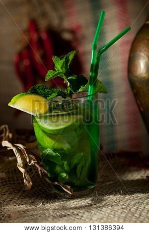 Mojito Cocktail with Mint and Lime Slice