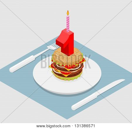 1 Year Birthday Burger. Number One With Candle. Holiday Hamburger Anniversary Celebration. Festive F