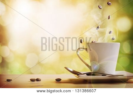 Cup Of Coffee With Green Nature Background Front View