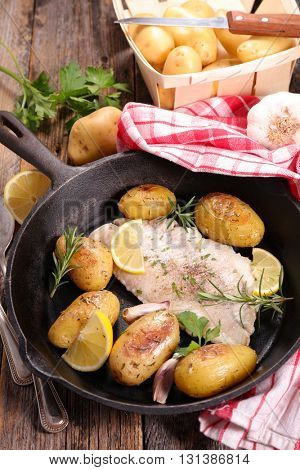 fish and roasted potatoes