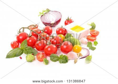 raw vegetable on white background