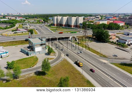 Tyumen, Russia - May 25, 2016: Bird eye view onto Respubliki and 50 Let Oktyabrya streets intersection