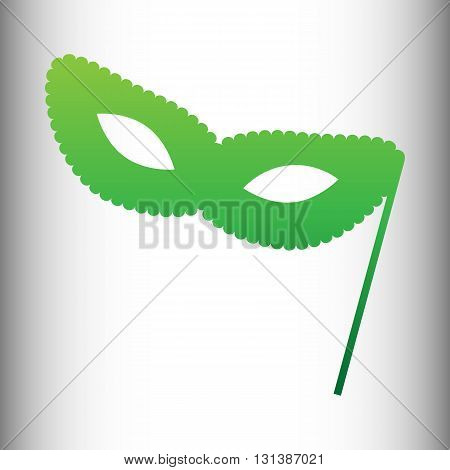 Traditional Venetian Carnival Decorative mask icon. Green gradient icon on gray gradient backround.