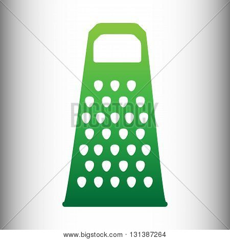 Cheese grater icon. Green gradient icon on gray gradient backround.
