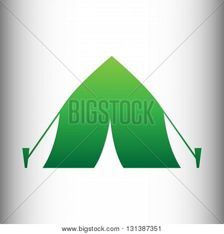 Tourist tent icon. Green gradient icon on gray gradient backround.