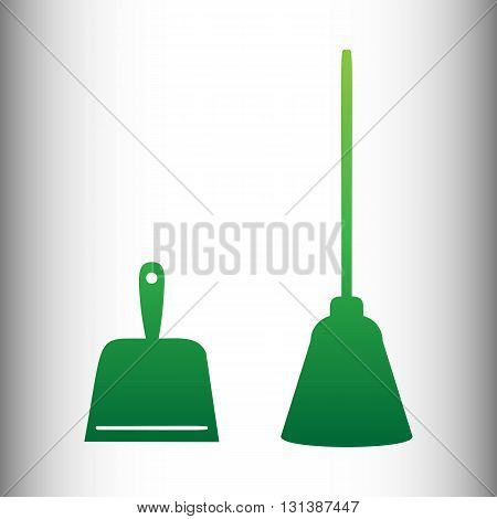 Dustpan vector icon. Scoop for cleaning garbage housework dustpan equipment. Green gradient icon on gray gradient backround.