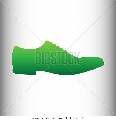 Men Shoes icon. Green gradient icon on gray gradient backround.