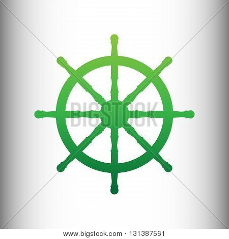 Ship wheel sign. Green gradient icon on gray gradient backround.